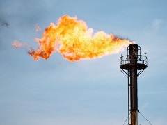 Methane flaring from an oil well
